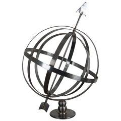 Vintage Metal Armillary Globe Sphere with Arrow Celestial Sculpture Industrial