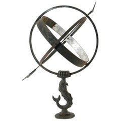 Vintage Metal Armillary With Fish Base