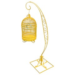 Vintage Metal Bird Cage on Stand, Newly Powder-Coated in Bright Sunshine Yellow
