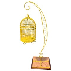 Vintage Metal Birdcage On Stand, Newly Powder-Coated In Bright Sunshine Yellow