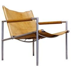 Vintage Metal, Brown Saddle Leather Lounge Chair Sz02 by Martin Visser Spectrum