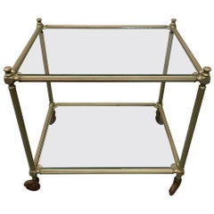 Vintage Metal Cart/End Table on Wheels with Glass Shelves