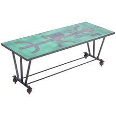 Vintage Metal Coffee Table with Enameled Green Ceramic Top
