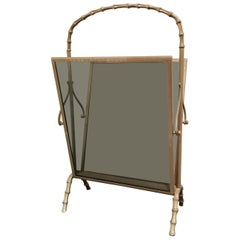 Vintage Metal Faux Bamboo Magazine Rack, 1970s
