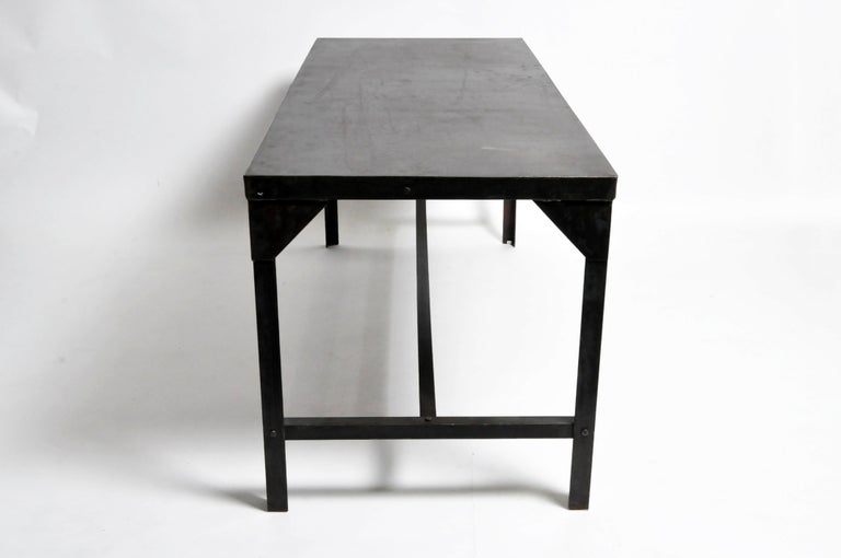 Vintage Metal Industrial Welder's Table In Good Condition For Sale In Chicago, IL