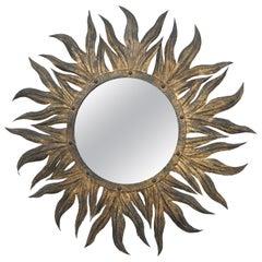 20th Century Iron Gilded Sun Mirror