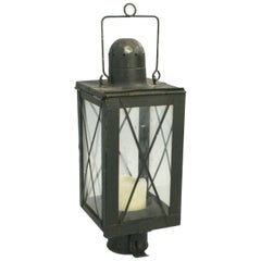 Vintage Metal Lantern with Four Glass Pains with Metal Diagonal Protection Rods