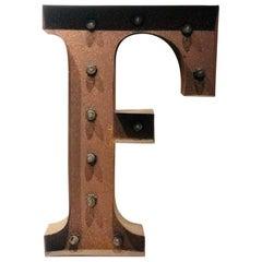 Vintage Metal Letter F Lighted Sign