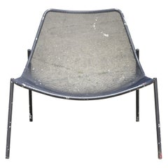 Vintage Metal Mesh Perforated Wide Seat Modern Patio Garden Lounge Chair