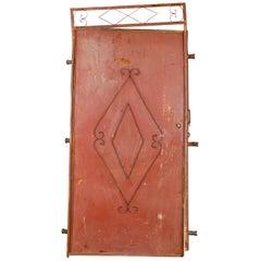 Vintage Metal Moroccan Red Door in Frame, 20th Century