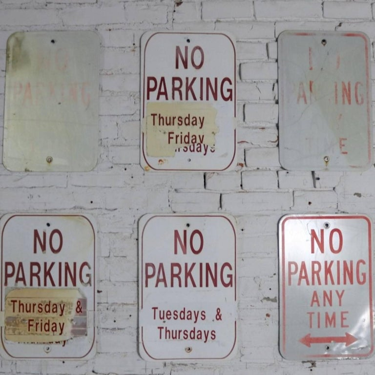 Vintage Metal No Parking Signs For Sale 5