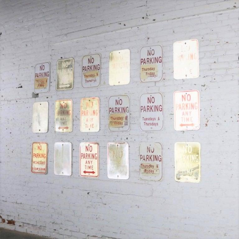 Industrial Vintage Metal No Parking Signs For Sale