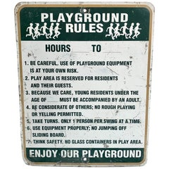 Vintage Metal Playground Sign