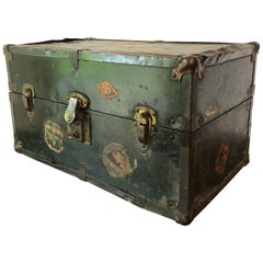 Vintage Metal Steamer Trunk with Luggage Label, Small