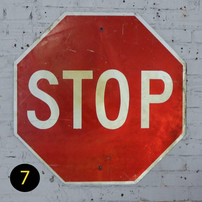 Vintage Metal Stop Signs For Sale 8