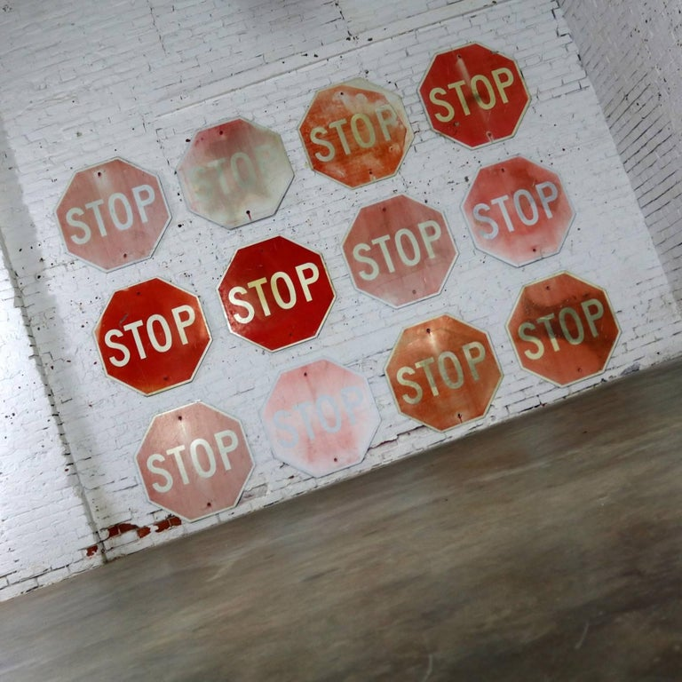 Industrial Vintage Metal Stop Signs For Sale