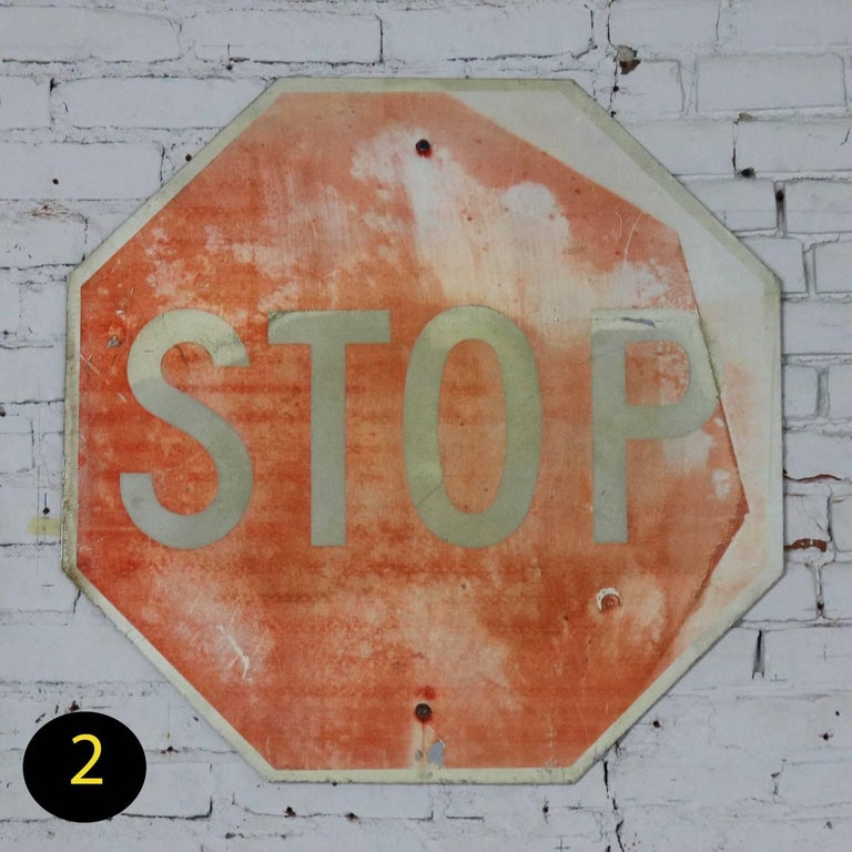 Vintage Metal Stop Signs For Sale 3