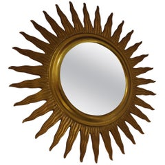 Vintage Metal Sunburst Mirror, 1960s