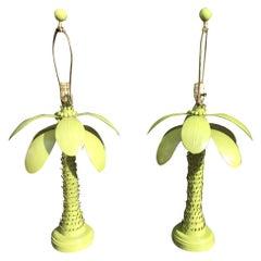 Vintage Metal Tole Palm Tree Leaf Leaves Table Lamps, Pair