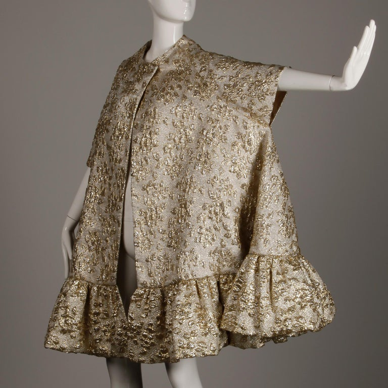 Vintage Metallic Gold Swing Coat; 1960s Mam'selle by Betty Carol  For Sale 5