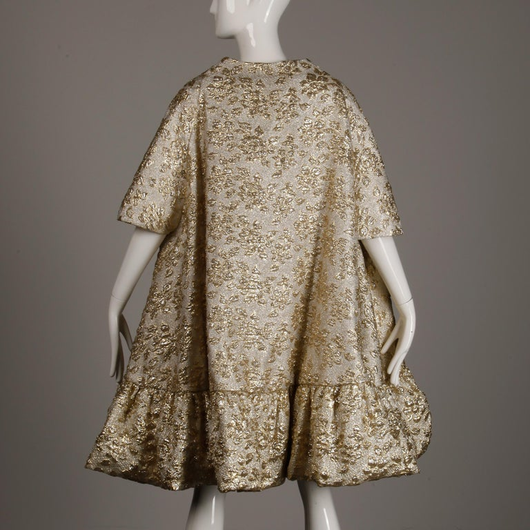 Vintage Metallic Gold Swing Coat; 1960s Mam'selle by Betty Carol  For Sale 7