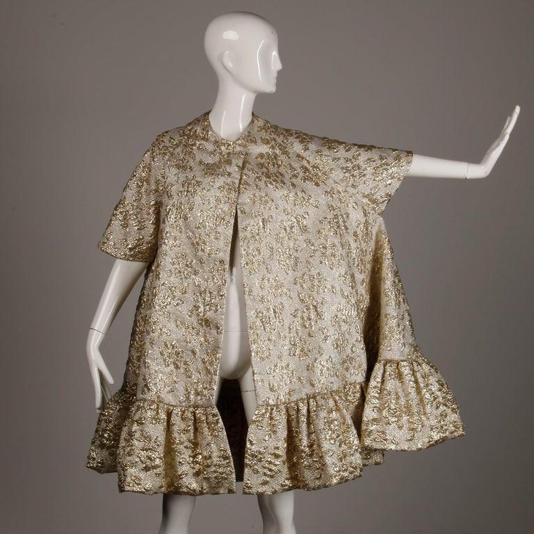 Vintage Metallic Gold Swing Coat; 1960s Mam'selle by Betty Carol  For Sale 8
