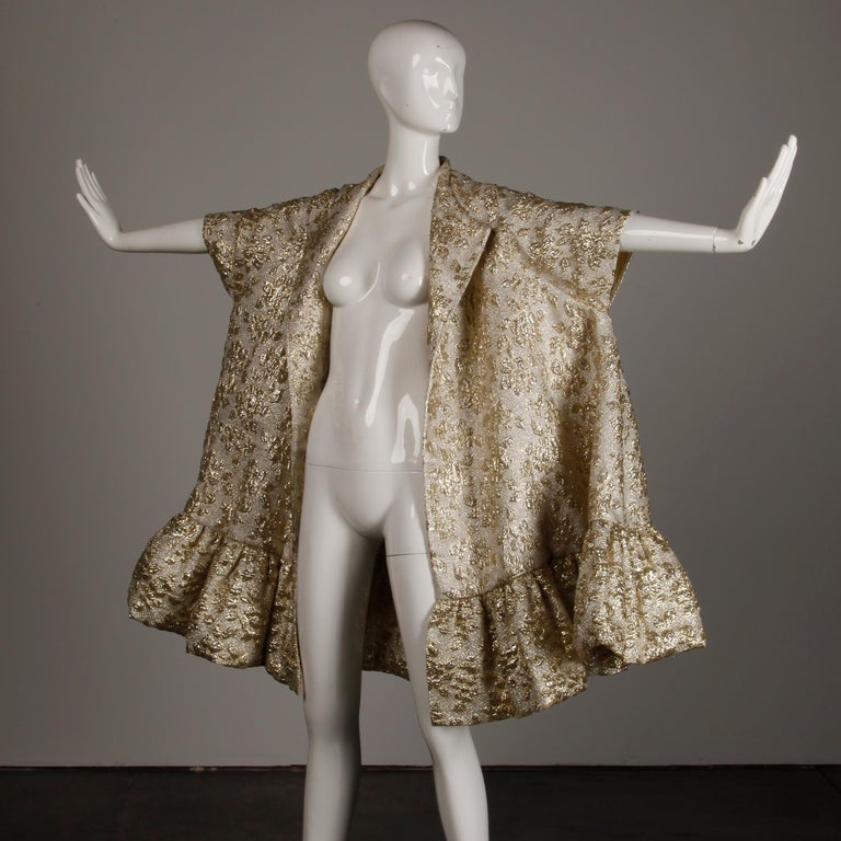 Vintage Metallic Gold Swing Coat; 1960s Mam'selle by Betty Carol  For Sale 9