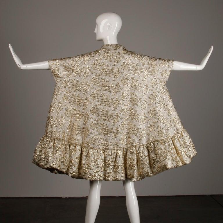 Women's Vintage Metallic Gold Swing Coat; 1960s Mam'selle by Betty Carol  For Sale