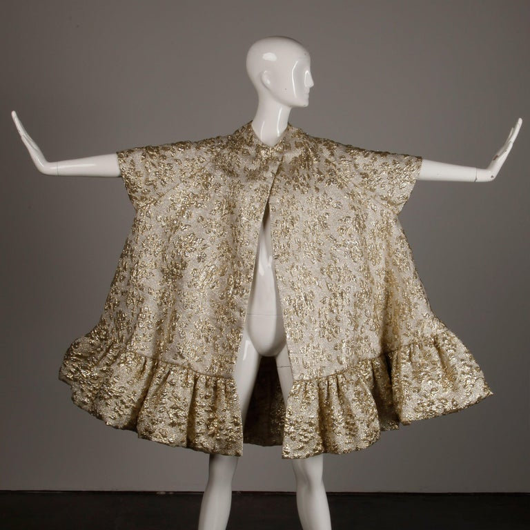 Vintage Metallic Gold Swing Coat; 1960s Mam'selle by Betty Carol  For Sale 2