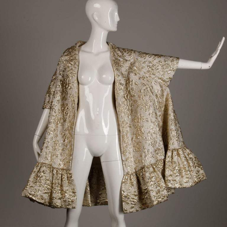 Vintage Metallic Gold Swing Coat; 1960s Mam'selle by Betty Carol  For Sale 4