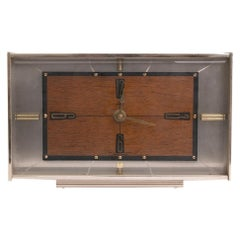 Vintage Metamec Pale Brass & Wood Effect Mantel Clock, c.1970