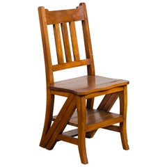 Vintage Metamorphic Indian Wooden Step Ladder Folding Side Chair