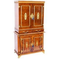 Vintage Meuble Francais Ormolu Mounted Burr Walnut Cocktail Cabinet 20th Century
