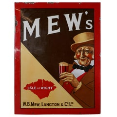 Vintage Mew Langton Original English Pub Sign, Jolly Dandy and his Pint