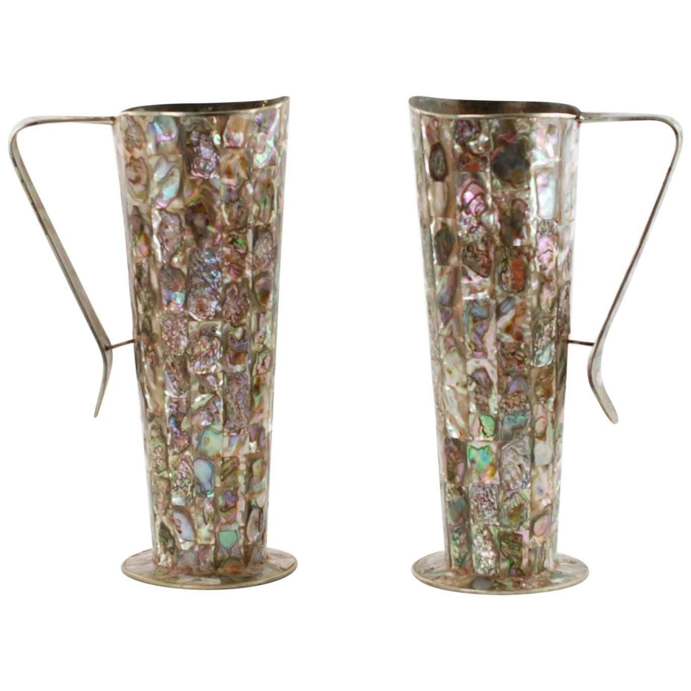 Vintage Mexican Alpaca Pitchers with Inlaid Abalone Tiles Matched Set of Two