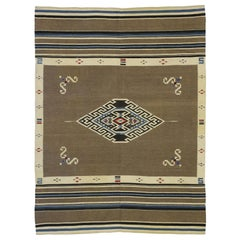 Vintage Mexican Kilim Tribal Rug with Navajo Adirondack Lodge Style