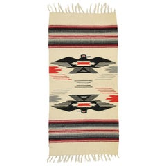 Vintage Mexican Throw Blanket Kilim Accent Rug with Navajo Two Grey Hills Style