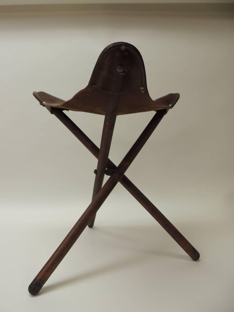 Vintage Mexican Tripod Leather And Wood Folding Stool At