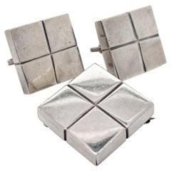 Vintage Mexican William Spratling Silver Modernist Square Cube Earrings & Brooch