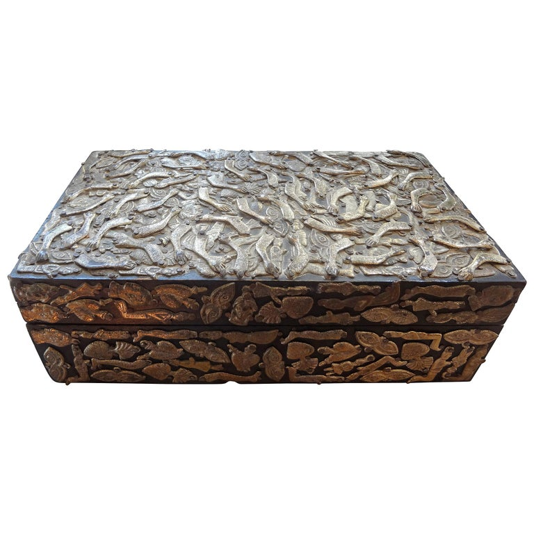 Vintage Mexican Wood Box Embellished with Milagros For Sale