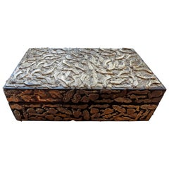 Vintage Mexican Wood Box Embellished with Milagros