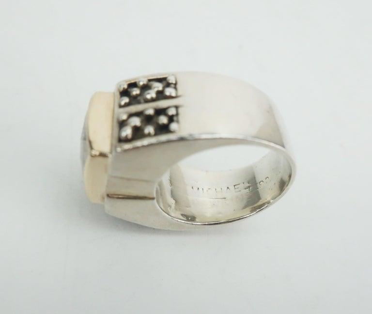 Vintage Michael Dawkins Modernist Sterling Silver & Quartz Crystal Ring For Sale 6