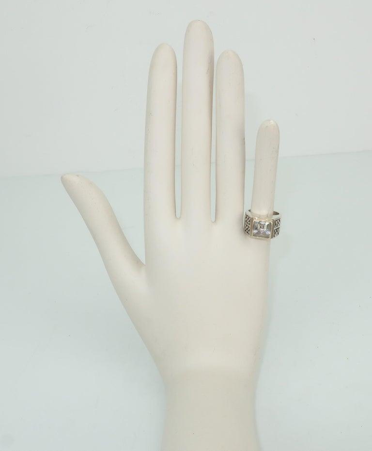 Vintage Michael Dawkins Modernist Sterling Silver & Quartz Crystal Ring For Sale 7