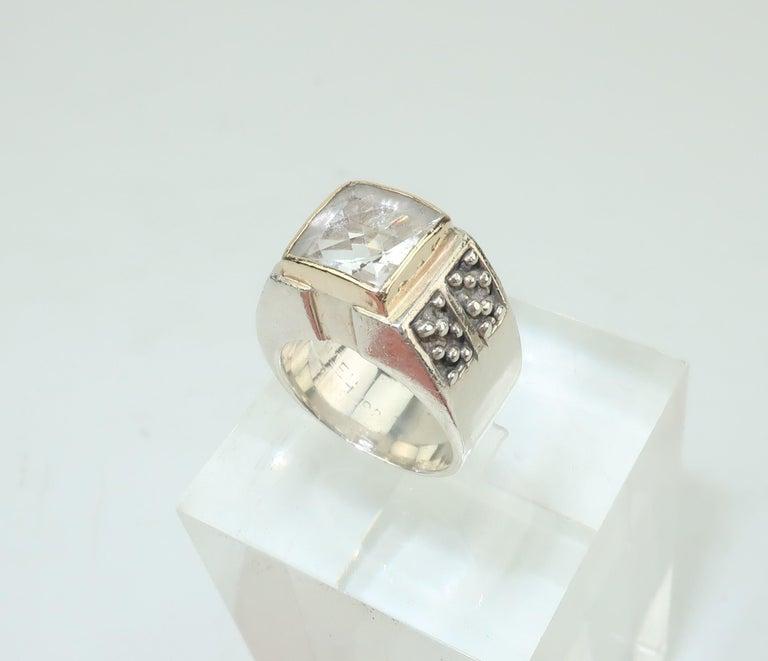 Vintage Michael Dawkins Modernist Sterling Silver & Quartz Crystal Ring In Good Condition For Sale In Atlanta, GA