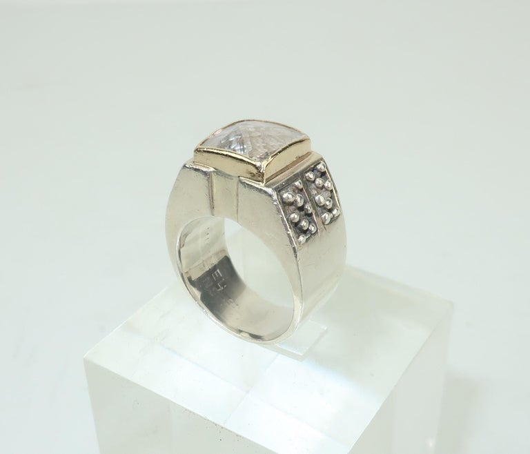 Women's or Men's Vintage Michael Dawkins Modernist Sterling Silver & Quartz Crystal Ring For Sale