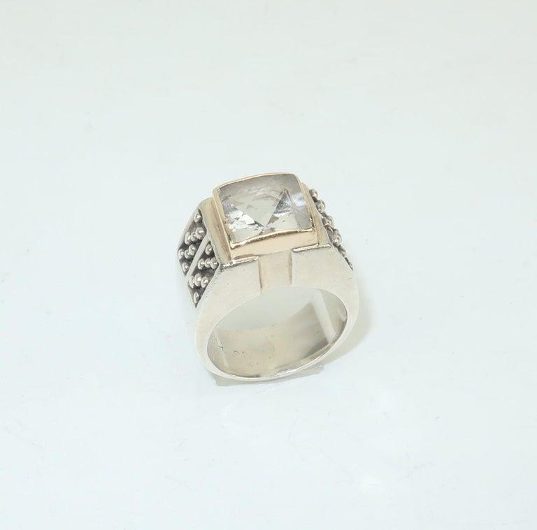 Vintage Michael Dawkins Modernist Sterling Silver & Quartz Crystal Ring For Sale 1