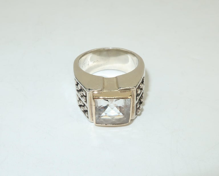 Vintage Michael Dawkins Modernist Sterling Silver & Quartz Crystal Ring For Sale 2