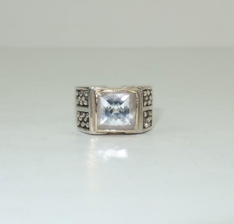 Vintage Michael Dawkins Modernist Sterling Silver & Quartz Crystal Ring For Sale 3