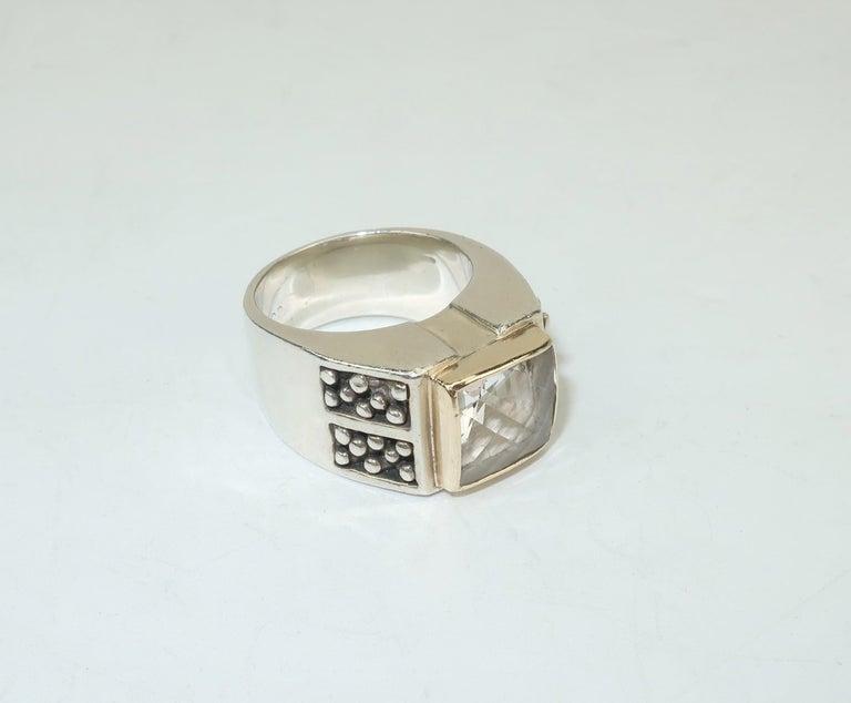 Vintage Michael Dawkins Modernist Sterling Silver & Quartz Crystal Ring For Sale 4