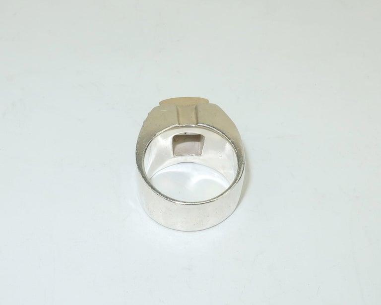 Vintage Michael Dawkins Modernist Sterling Silver & Quartz Crystal Ring For Sale 5